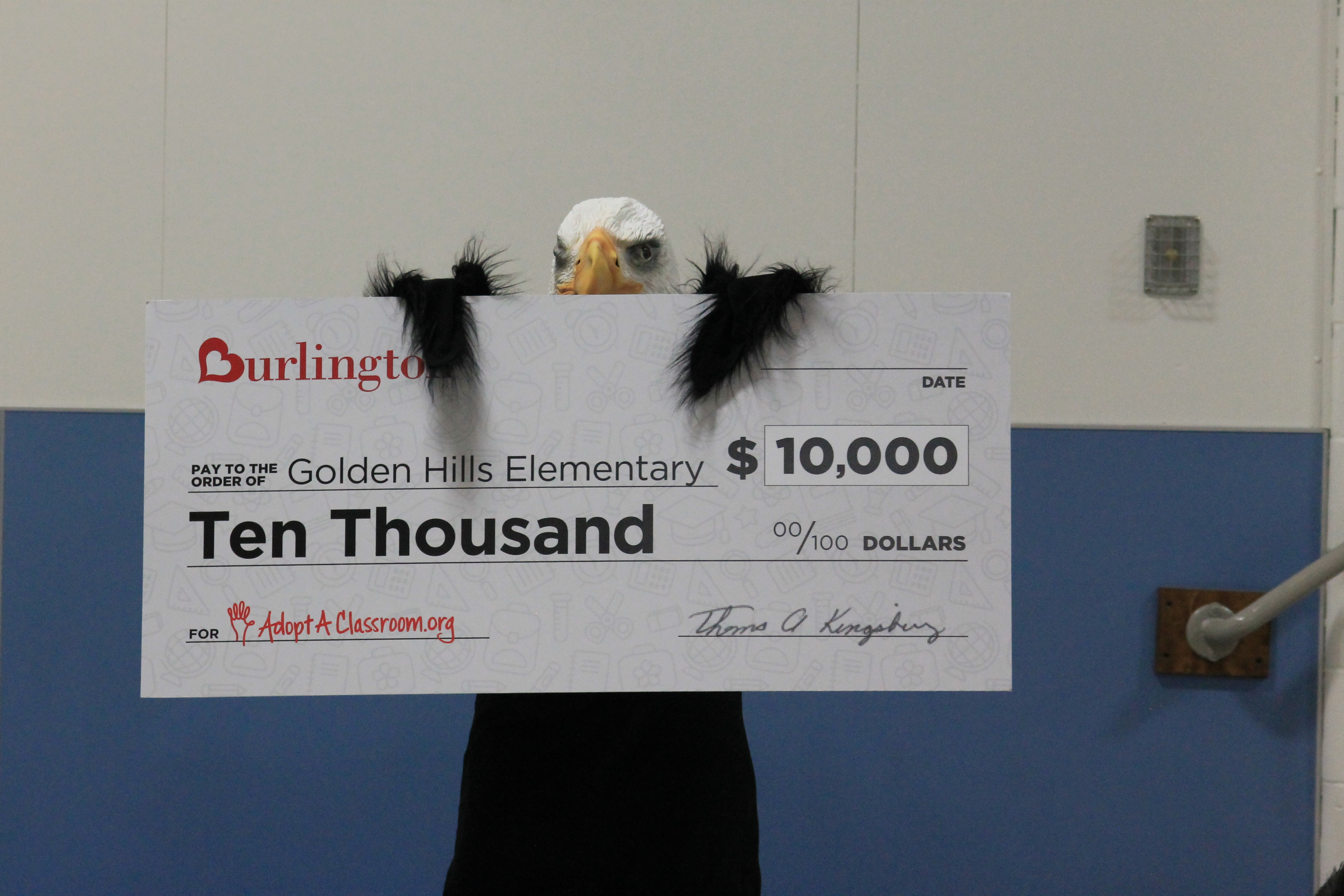 Burlington donates $10,000 to Golden Hills Elementary